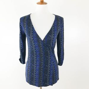 Lucky Brand Wrap Knit Top XS Aztec Print Blue